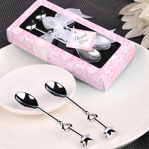 DHL Free Shipping Double Heart Coffee Spoons Wedding Favors Birthday Gifts Father's day and mother's Day gift