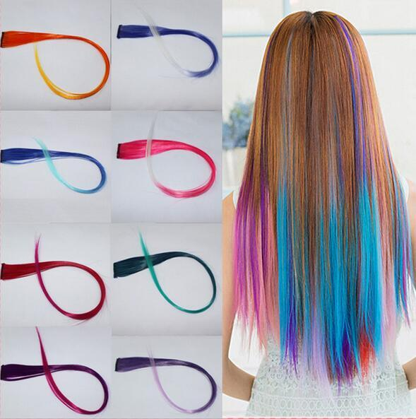 top popular Hair extensions 2016 New Arrive fashion women's Long Synthetic Clip In Extensions Gradient Color cosplay hair pieces 2019