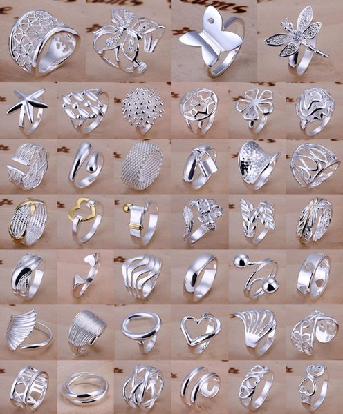 best selling Factory Price Top Quality Fashion Women Jewelry 925 Silver Wedding Rings For Women Irregular Shapes Mix Styles 40pcs lot