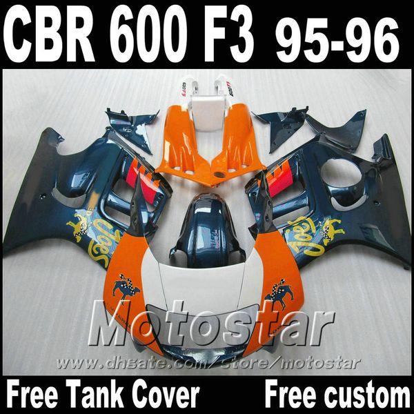 High quality fairing kit for HONDA CBR600 F3 95 96 motorcycle fairings CBR 600 F3 1995 1996 orange blue bodywork set