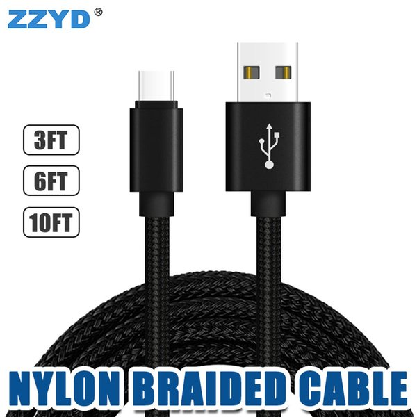 ZZYD 10FT 6FT 3FT Metal Housing Braided Micro USB Cable Type C Charging Cable for Samsung S8 Android Smart Phone