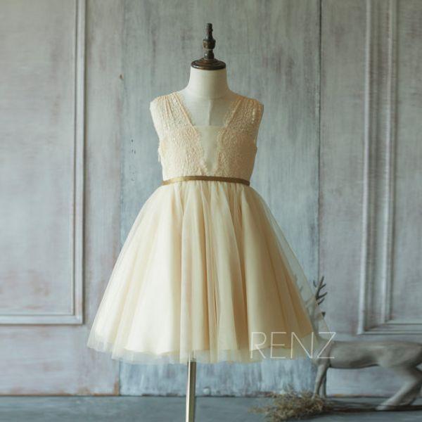 2020 Beige Junior Bridesmaid Dress, Lace Flower Girl Dress V neck Taffeta Beading Dress
