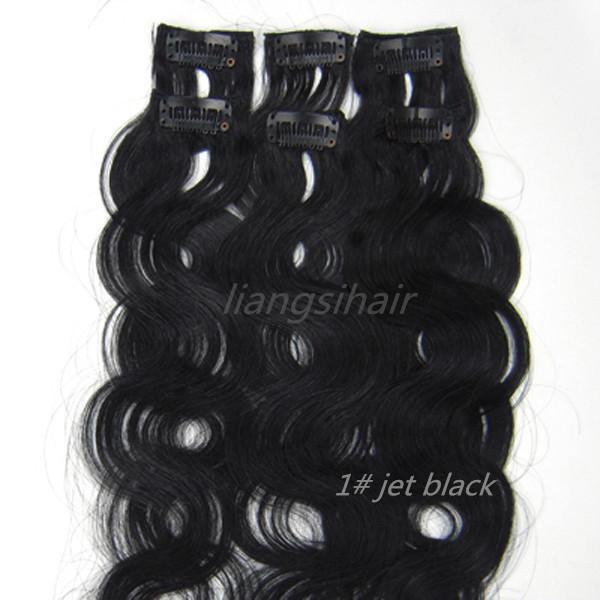 "Brazilian virgin Remy Human Hair Extensions Body Wave Style Clip in Hair bundles 20"" 6pcs 36g 1# jet black"