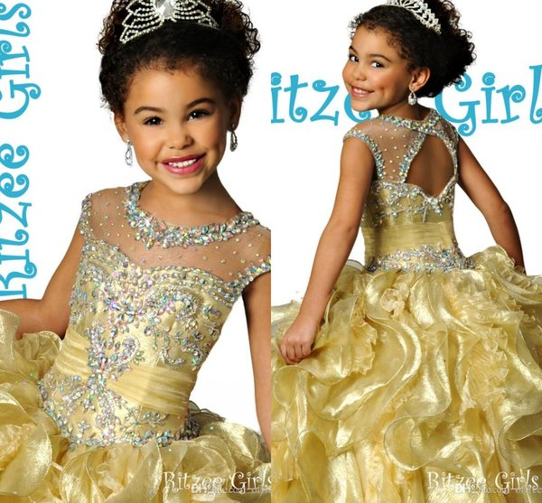 best selling Glitz Ritzee Gold Crystal Beaded Ruched Ruffle Organza Girls Pageant Dresses 2015 Sparkly Cheap Flower Girls Dresses For Wedding Party Gowns