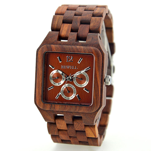 Classic men Tense Wood clock square dial vintage elegant red sandalwood maple mens wrist watch for dad week date window wooden chain watches