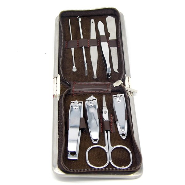 Wholesale-Professional 9in1 Pedicure/Manicure Set Nail Clippers Cuticle Grooming Kit Case Tool Free Shipping