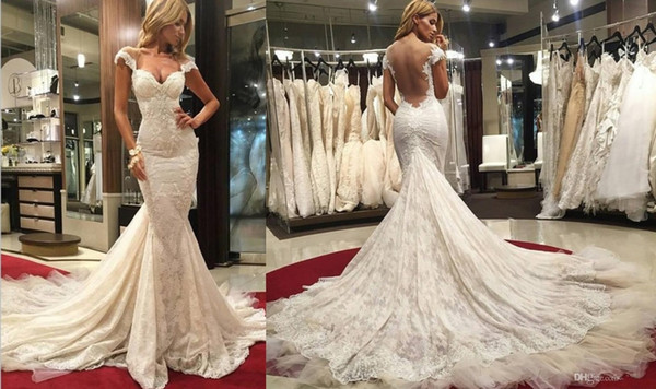 Modest Wedding Dresses With Cap Sleeves Mermaid Style Open Back 2016 Full Lace Plus Size Berta