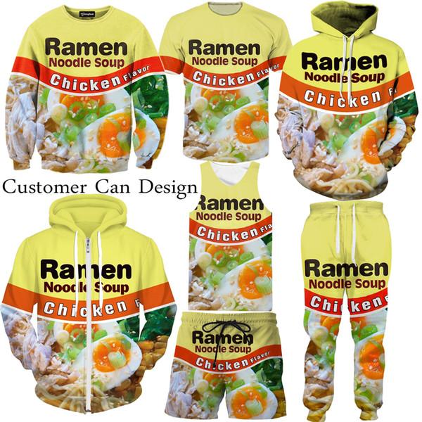 top popular New Fashion Couples Men Women Unisex Ramen Noodles Chicken Beef 3D Print Tracksuits Suits Hoodies Pullover Top S-5XL TZ1 2019