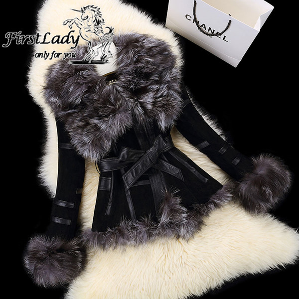 wholesale-2015 new real pig leather jackets with genuine fox fur collar overcoat fashion women real fur coat with belt winter garment