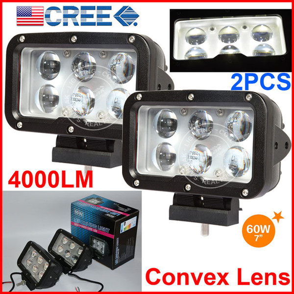 "DHL 2PCS 7"" 60W CREE 6LED*10W Driving Work Light Rectangle Offroad SUV ATV 4WD 4x4 Spot Beam 9-60V 6000lm Auto Truck Forklift W/ Convex Lens"