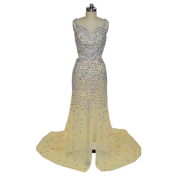 Vestidos Longos Para Boncuklu Formatura Mermaid Şampanya Sevgiliye Yan Yarık Şifon Boncuklu Akşam Örgün Önlük Elbiseler 2018