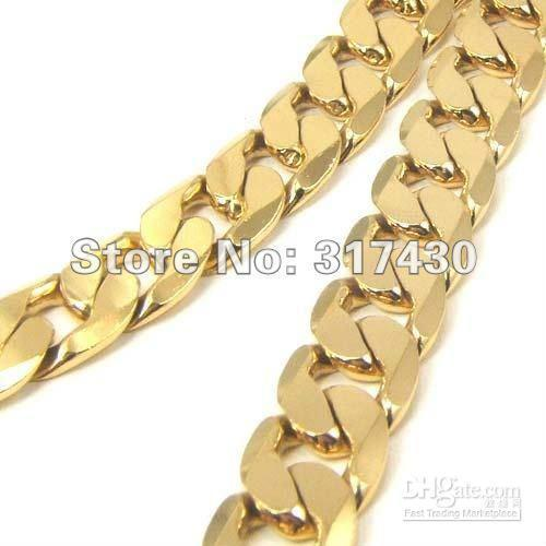 Low Price Heavy Men's Necklace 18k Yellow Gold Filled Necklace Wide:10MM Length:60 cm Curb Chain Link Men