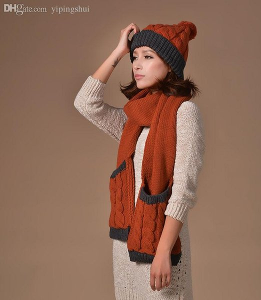 Wholesale-New Scarf for woman knit Scarf Hat set brand design scarves women fashion pocket scarfs women hat winter set winter muffler