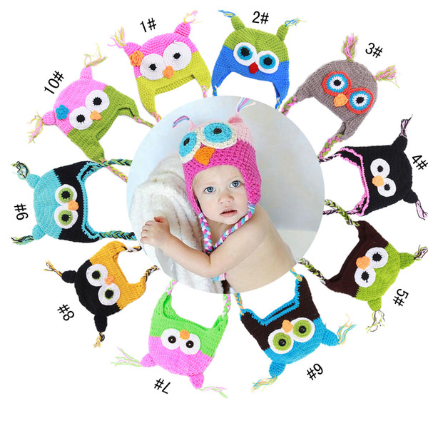 Hot sales Baby hand knitting owls hat Knitted hat Children's Caps 10 Color crochet hats for kids