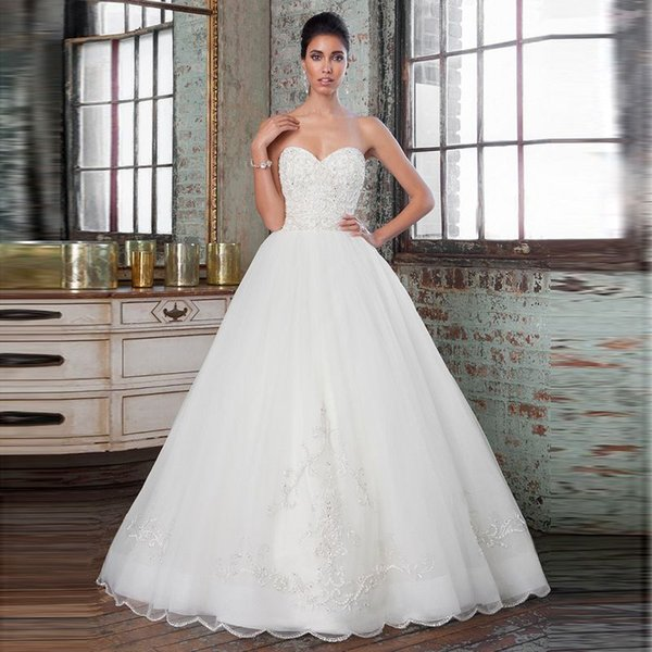 Discount Opulent Ball Gown Mermaid Bridal Dress Sweetheart Appliques with Beaded Sequined Organza Wave Hem Wedding Dresses New