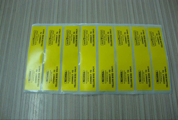 free shipping custom high quality matte yellow and black caution warning self adhesive sticker