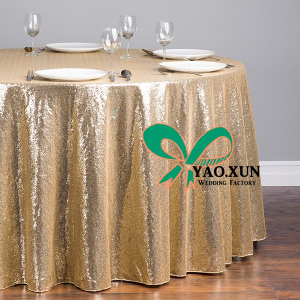 top popular Gold Sequin Round Table Cloth \ Best Quality Table Cloth For Wedding 2020