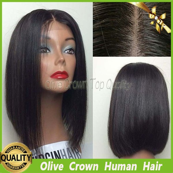 Silk Top Bob Style Full Lace Human Hair Wigs Lace Front Brazilian Virgin Human Hair Wig Straight With Baby Hair