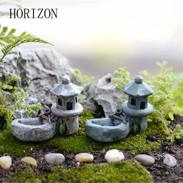 Wholesale- New 1pcs Vintage Artificial Pool Tower Miniature Fairy Garden Home Decoration Mini Craft Micro Landscaping Decor DIY Accessories
