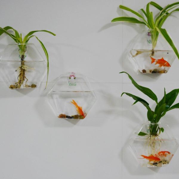 4pcs Set Hexagon Glass Terrariums Wall Planter Vase Wall Glass Fishbowl For Wall