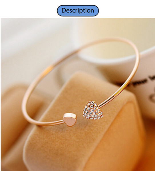 best selling New Women Fashion Style Alloy Gold and Silver Color Rhinestone Love Heart Bangle Cuff Bracelet Jewelry hot sale