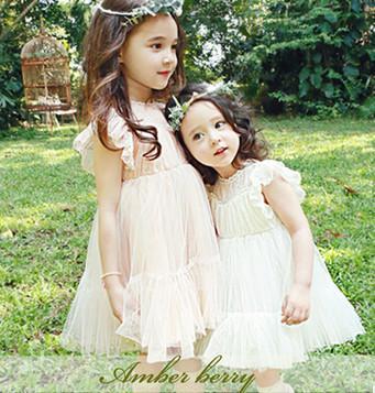 Children princess dresses Summer New girls lace fly sleeve gauze tulle tutu dress sweet kids party dress beige pink girls dresses A7817