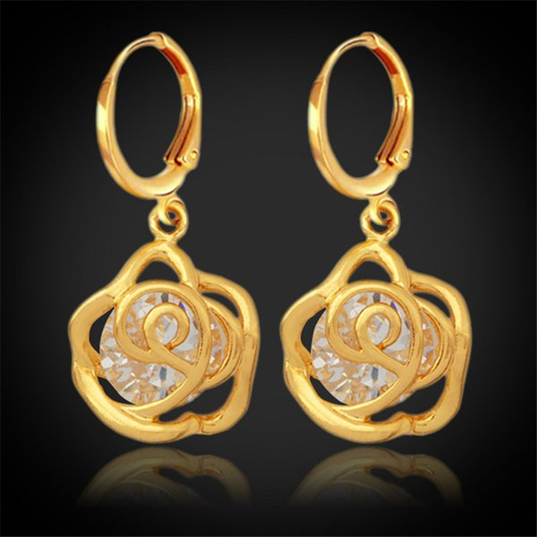 New Vintage Infinity Rose Cubic Zirconia Earrings 18K Real Gold Plated Charms Fashion Earrings Jewelry For Women YEH5202