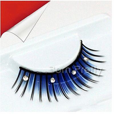 Wholesale-1Pair Blue Black Rhinestone False Eyelash For Beauty Party Stage Eye Makeup #16107