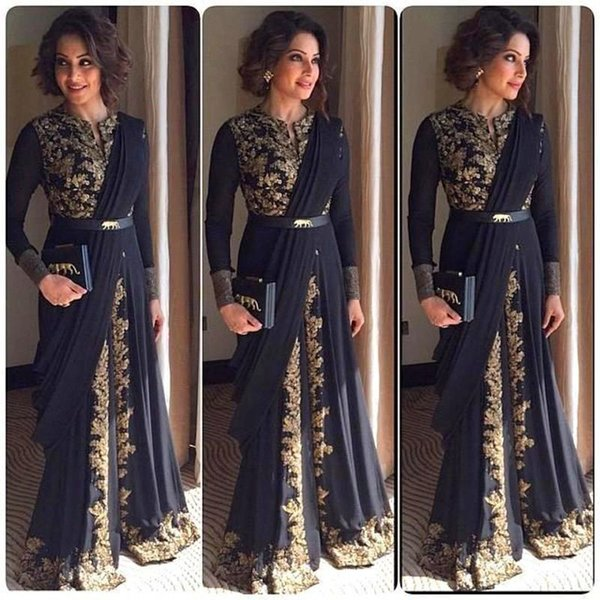Plus Size Gold Appliques muslimische Abendkleider Langarm afrikanische formale Party Kleider schwarz Chiffon Perlen Dubai Kaftan Prom Robe De Soiree