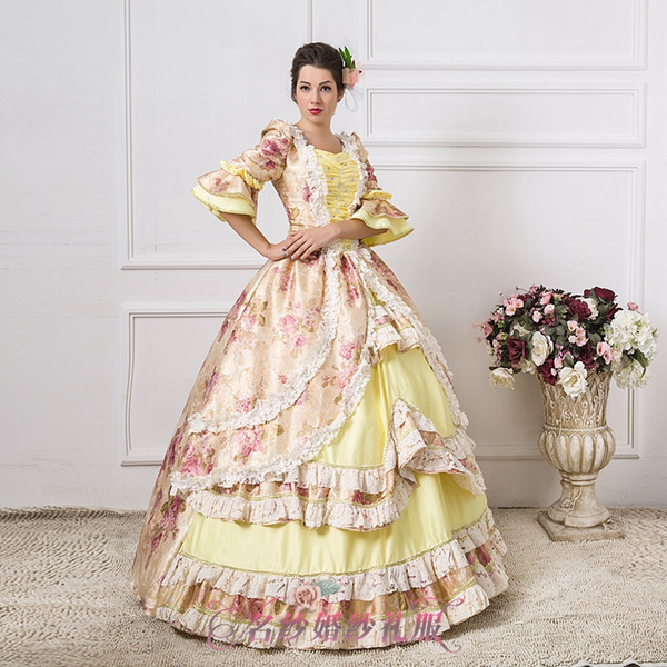 Wholesale Luxury Light Yellow Flower Ball Gown Medieval Dress ...