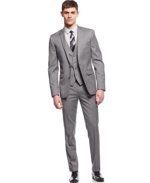 Wholesale - The latest fashion three-piece suit light grey suit custom groom wedding suit of high quality best man suit (jacket + pants