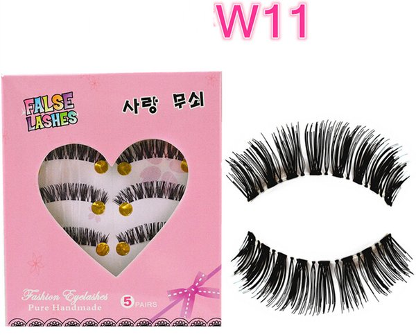 W-11 Hot Selling 5Pairs / Set New Makeup False Eyelashes Soft Natural Cross Long Eye Lashes Extension maquiagem