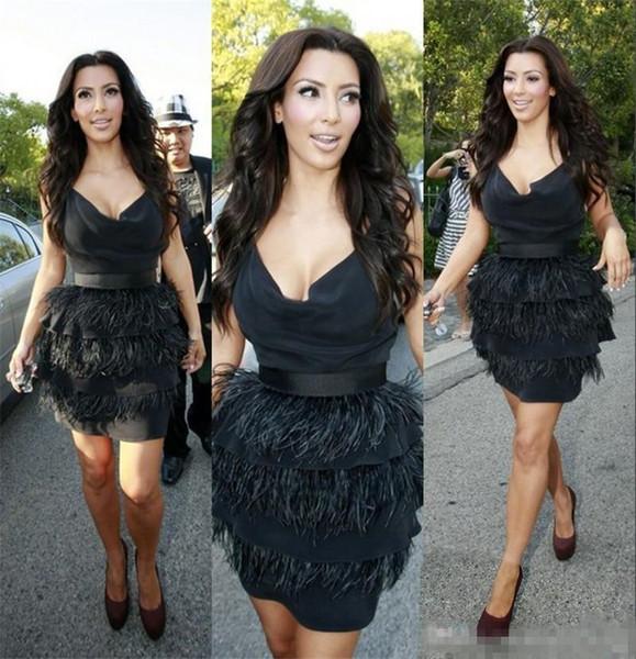 New Kim Kardashian Black Ostrich Feather Cocktail Party Dresses Knee-Length 2017 Sexy Women Formal Prom Evening Wears Vestido De Noche