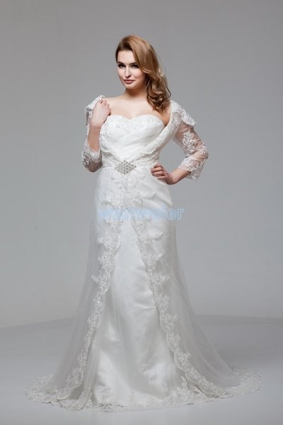 free shipping 2018 new design hot custom size/color bridal gown Muslim with lace jacket long sleeve white/ivory wedding dress