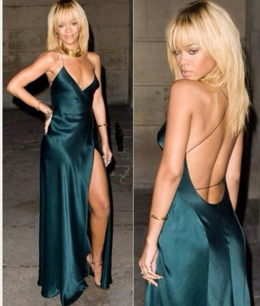 Sexy Dark Green Evening Dresses 2018 A Line Backless Spaghetti Straps Cut Out Prom Dresses Party Gowns Custom Made Rihanna Celebrity Dresses
