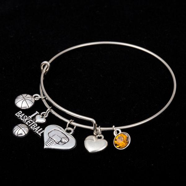 Myshape Cool Fashion Stainless Steel DIY Charms Bracelet Basketball Orange Jewel Heart Pendant Bangle Wristbands For Special Friend