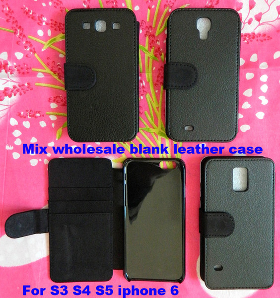 Mix For Samsung galaxy S3 S4 S5 iphone 6 DIY blank cover Flip Leather sublimation case with card slot free shipping 200pcs/lot
