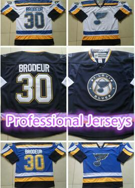 30 Teams-Wholesale Cheap St.louis Blues Hockey Jerseys #30 Martin Brodeur Ice Hockey Jersey shirt With A Patch 100% Embroidery Free Shipping