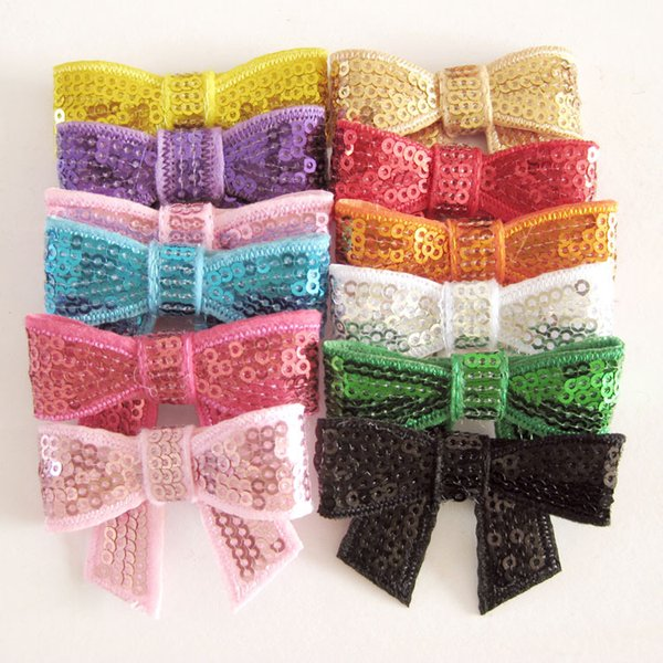 2 inch embroidery sequins Bows DIY Bowknot hair bling bling bow hairband kids 12 colors Hair Accessories D665J