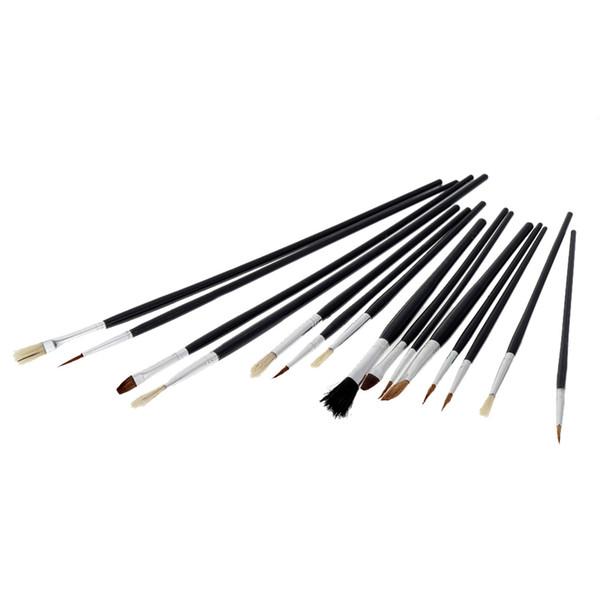 Wholesale-15pcs Different Shape Bristle Hair Paint Brush Paintbrush Set Watercolor Gouache Oil Painting Acrylic Art Supplies For Drawing