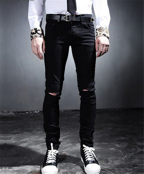 2017 Wholesale 2015 Mens Black Ripped Jeans With On The Holes On ...