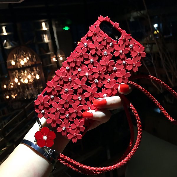 3D Flower Rhinestone Phone Case for iphone X Fashion Girl Hollow Out Soft Silicone Back Cover Shell for iphone 8 7 6s plus