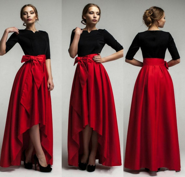 Elegant Red Taffeta High Low Skirts For Woman 2015 New Fashion Waist Belt Floor Length Girls Long Skirts Custom Made Formal Party Dresses