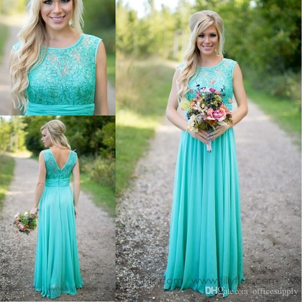 top popular 2017 New Arrival Turquoise Bridesmaid Dresses Cheap Scoop Neckline Chiffon Floor Length Lace V Backless Long Bridesmaid Dresses for Wedding 2019