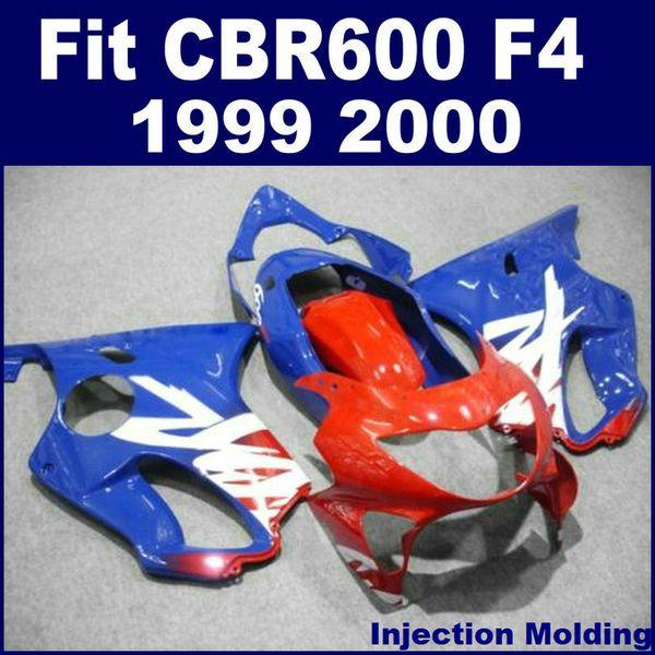 100% Injection molding customize for HONDA fullset fairing set CBR 600 F4 1999 2000 blue red 99 00 cbr600 f4 fairing parts VYNJ
