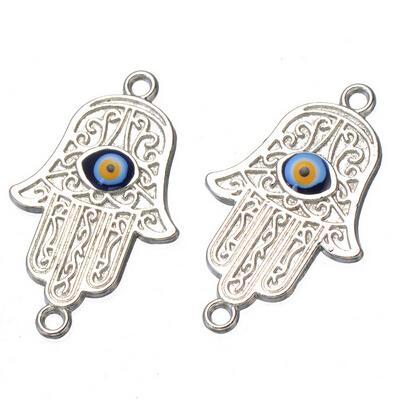 500 pcs Jewellery Making Craft Silver Hamsa Pendant Hand Fatima Charm Evil Eye 31x19 mm free shipping