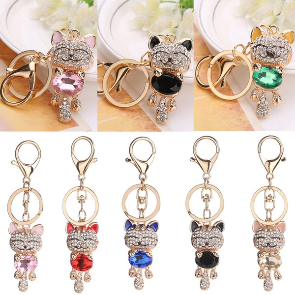 7 Styles Lucky Smile Cat Keychain Crystal Keyrings Purse Gemstone Kitten Pendant Bag Car Keychains Fashion Jewelry Key Ring D298S