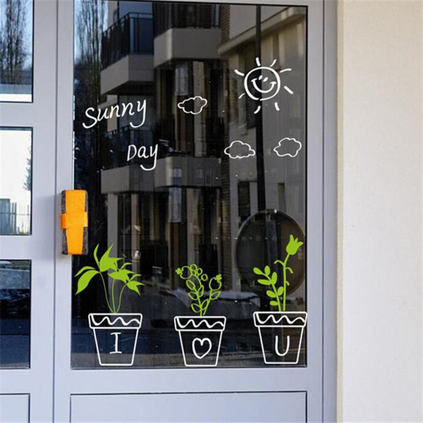 IDFIAF Cactus Plant Fresh Pots Glass Sticker how are you Quote Wall sticker Balcony Frosted Glass Sliding Door Bathroom Window