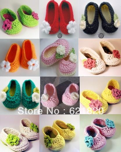 Mix colors can choose*new Beautiful flowers crochet shoes/cheap shoes/baby wear/ first walker shoes cotton yarn