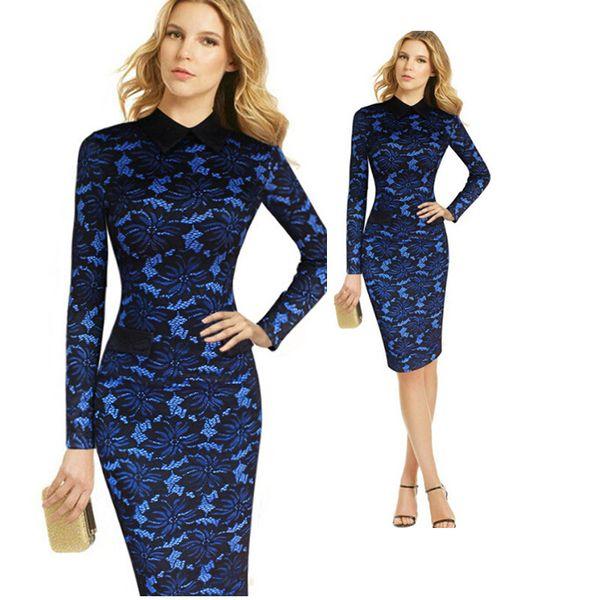 Plus Size Blue Lace Embroidery Lapel Neck Slim Bodycon Dress Women Long Sleeve Midi Dress Elegant Vintage Up to XXXXL